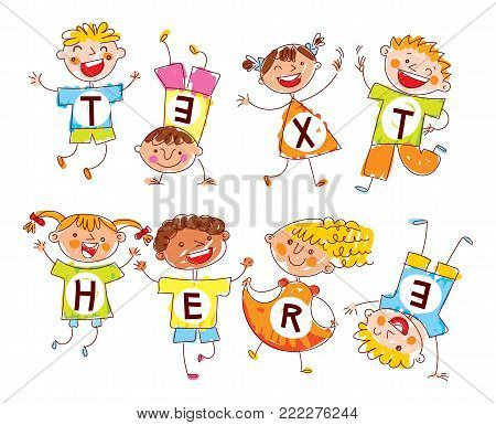 Cute happy kids. In style of children's drawings. Funny cartoon character. Template for advertising brochure. Ready for your message. Space for text. Vector illustration. Isolated on white background