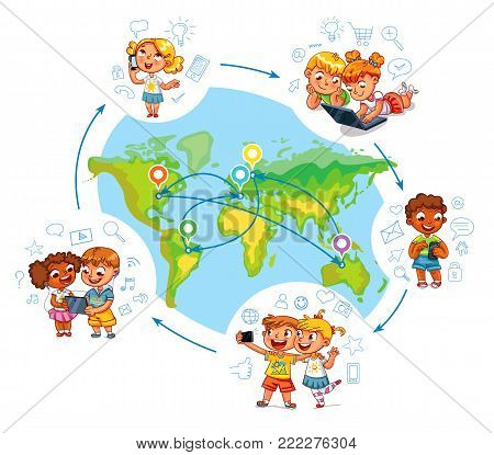 Children interact with each other on social networks around the world. Around the world. Kid talking on the phone. Children to make selfie together with mobile device in hand. Funny cartoon character