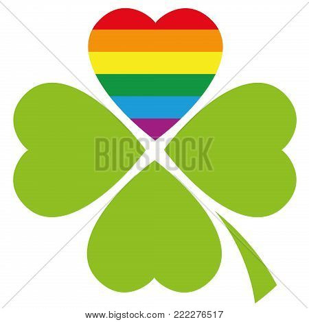 Gay pride lucky clover with the LGBT movement flag color in a heart - symbol for love, luck, tolerance and peace - isolated illustration on white background.