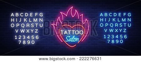 Tattoo salon logo vector. Neon sign, a symbol of heart in the fire, a bright luminous billboard, neon bright advertising on a tattoo theme, for a tattoo salon, studio. Editing text neon sign.