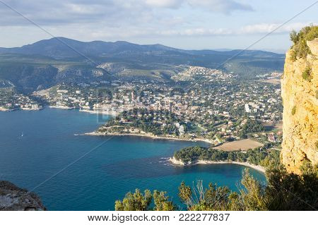 Cassis view from Cape Canaille top, France. Beautiful french landscape.