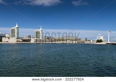 Modern buildings in the Nations Park (Parque das Nacoes) in Lisbon, Portugal; Concept for visit Lisbon