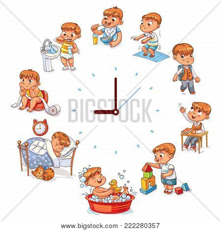 Daily routine with simple watches. Vector set with baby boy. Funny cartoon character. Vector illustration. Isolated on white background