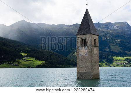 Lago di Resia. Italy Europe Südtirol South Tyrol Upper Adige Alto Adige