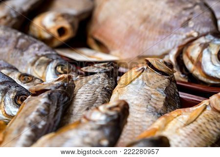 Variety sun-dried river fish at market. Traditional Russian cuisine