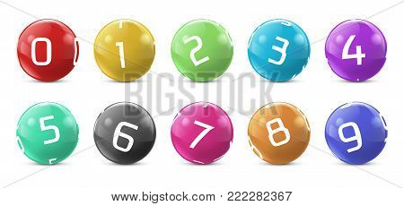 Vector lotto colored balls with numbers. Lottery bingo gambling spheres. Snooker, billiard sport game realistic isolated illustration with reflections on white background.