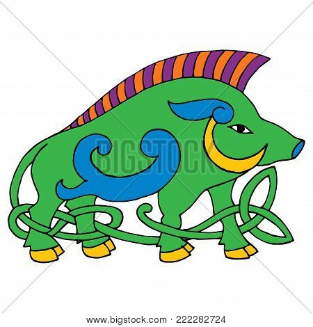 Ancient irish mythological totem. Wild boar with celtic knot. Vector knot illustration. Isolated on white background.