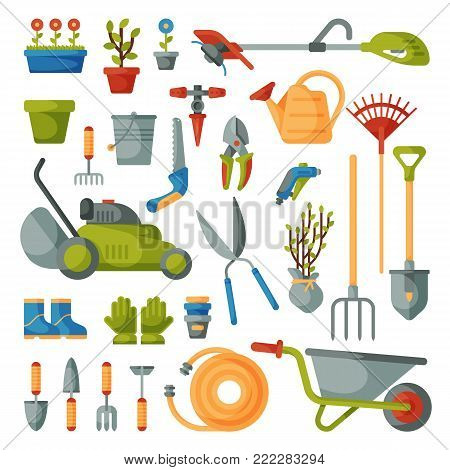 Garden tool vector gardening equipment rake or shovel and lawnmower of gardener farm collection or farming set illustration isolated on white background.