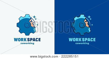 Work Space Coworking. Abstract Vector Sign, Emblem, Icon or Logo Template. Space Suit Helmet Face Combined with Gear Silhouette. Open Office Logotype Concept. Blue Background and Isolated Version.