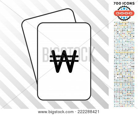 Korean Won playing cards pictograph with 7 hundred bonus bitcoin mining and blockchain pictures. Flat vector clipart for gambling and crypto currency websites.