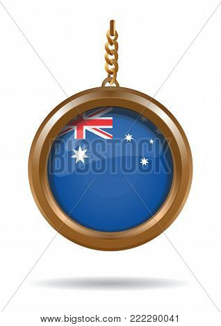 Gold medallion on a chain with the flag of Australia inside. National Flag of Australia. Vector illustration isolated on white background