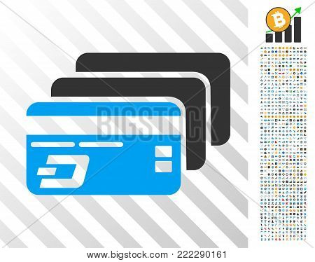 Dash Bank Cards pictograph with 700 bonus bitcoin mining and blockchain pictures. Vector illustration style is flat iconic symbols designed for cryptocurrency software.