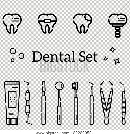 Vector set of flat dental tools and teeth with caries, braces and an implant. Isolated objects on transparent background in a line art style.