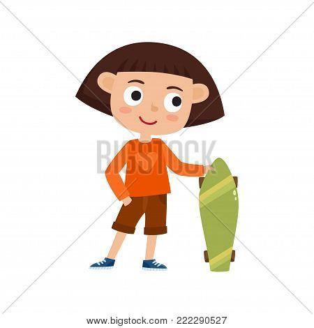 Summer activity skateboarding concept. Vector illustration of skateboarder girl stand with skateboard in cartoon style isolated on white background. Summer break, girl having free time. Happy child.