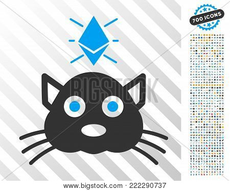 Ethereum Crypto Kitty icon with 7 hundred bonus bitcoin mining and blockchain clip art. Vector illustration style is flat iconic symbols designed for crypto-currency apps.