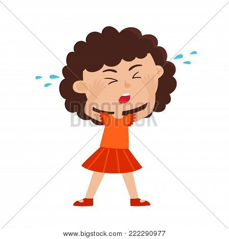 Color vector illustration of crying girl isolated on white background. Crying small child. Sad hipster kid. Cartoon curly girl used for child books, stickers, posters.