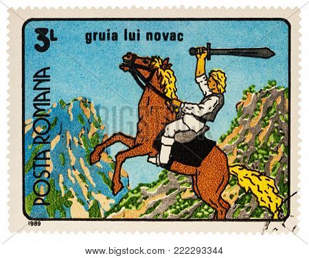 Moscow, Russia - January 16, 2018: A stamp printed in Romania, shows Gruia Lui Novac, a frame from Cartoon film, series