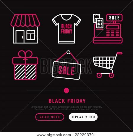 Black friday sale thin line icons set: store, shopping cart, cash machine, payment, label, gift. Modern vector illustration, web page template.