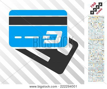 Dash Banking Cards icon with 7 hundred bonus bitcoin mining and blockchain pictographs. Vector illustration style is flat iconic symbols designed for blockchain software.