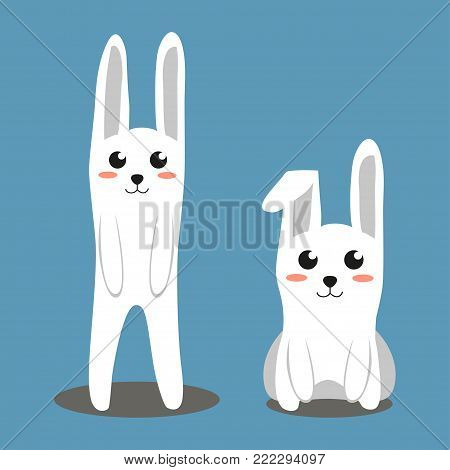 Two white rabbit colorful poster. Paper cut 2 two sides. Easter themed flat vector illustration for gift card, flyer, certificate or banner, icon, logo, patch, sticker