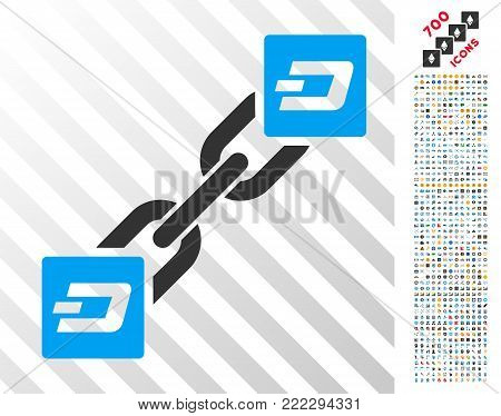 Dash Blockchain icon with 7 hundred bonus bitcoin mining and blockchain pictograms. Vector illustration style is flat iconic symbols designed for cryptocurrency websites.