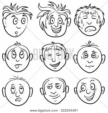 Set Of Nine Amusing Male Grimaces