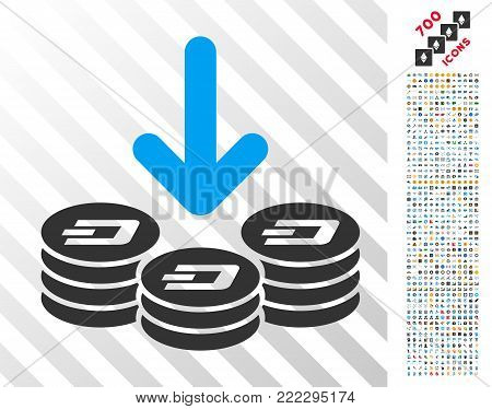 Dash Coins Income pictograph with 7 hundred bonus bitcoin mining and blockchain pictographs. Vector illustration style is flat iconic symbols designed for bitcoin apps.