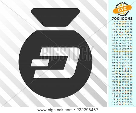 Dash Money Bag icon with 700 bonus bitcoin mining and blockchain graphic icons. Vector illustration style is flat iconic symbols designed for blockchain apps.