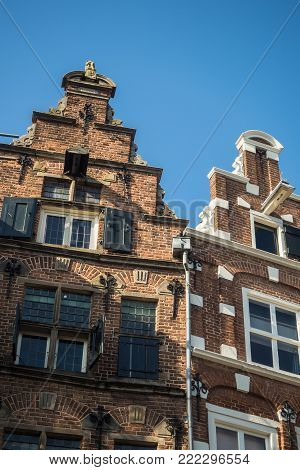 Historic 17th century house fronts with stepped gables and window shutters at Groenmarkt in Zutphen, Holland