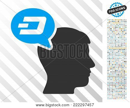 Dash Thinking Balloon icon with 7 hundred bonus bitcoin mining and blockchain pictographs. Vector illustration style is flat iconic symbols designed for crypto currency software.