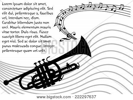 Trumpet silhouette with wavy stave and musical notes. Black drawing on white background. Flyer, poster, leaflet concept with place for own message, Vector EPS 10