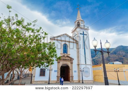 Old and historic Roman Catholic church Shrine of Our Lady of Mount Carmel in Los Realejos of Tenerife, Canary island, Spain