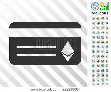 Ethereum Banking Card pictograph with 7 hundred bonus bitcoin mining and blockchain pictograms. Vector illustration style is flat iconic symbols designed for crypto-currency software.
