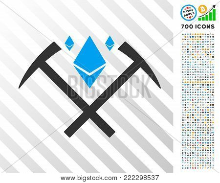 Ethereum Crystal Mining Hammers pictograph with 700 bonus bitcoin mining and blockchain clip art. Vector illustration style is flat iconic symbols designed for crypto-currency software.