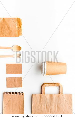 Set of craft bown paper objects top view mock up pattern.
