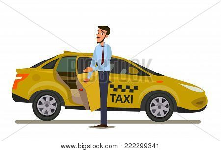 Taxi driver.Vector illustration in flat style. Taxi driver concept.