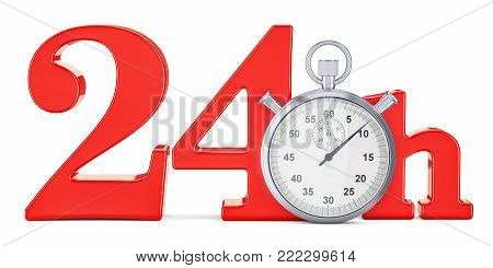 24 hrs. fast delivery concept, 3D rendering isolated on white background