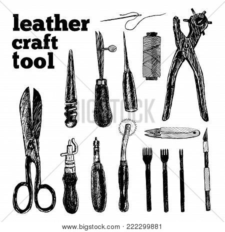 Leather craft tools in graphic style hand-drawn vector illustration.