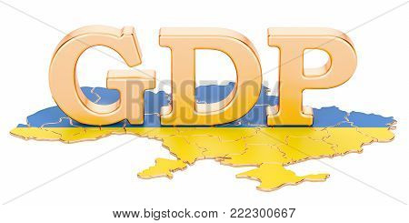 gross domestic product GDP of Ukraine concept, 3D rendering isolated on white background