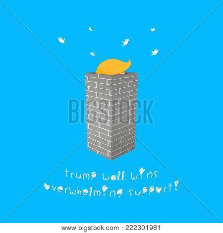 WASHINGTON, USA, 16 January 2018 - Illustration idea of Trump Wall that might be popular.