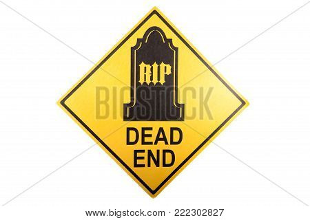 A warning sign decoration for Halloween against a white background