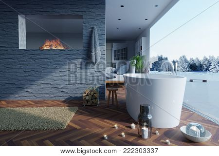 3d rendering of freestanding bathtub and fireplace at stone bricket wall right to a winter landscape