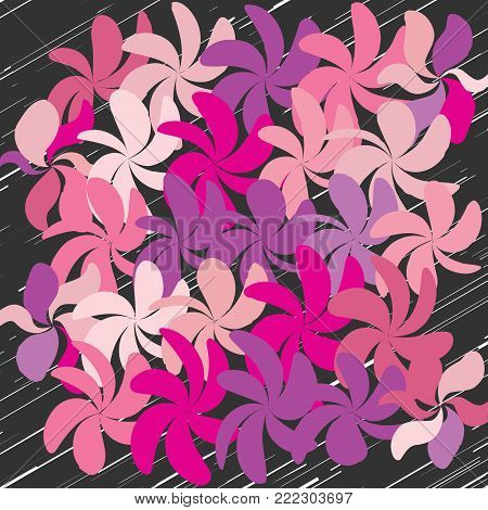 Whimsical Floral  Background, Flower on Black, Exquisite Gentle Floral Graphic Ornament, Minimalistic Fashion Ornament