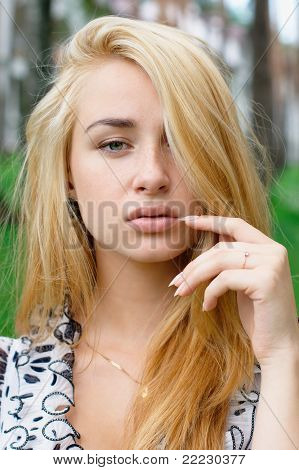 Portrait of beautiful young blonde girl