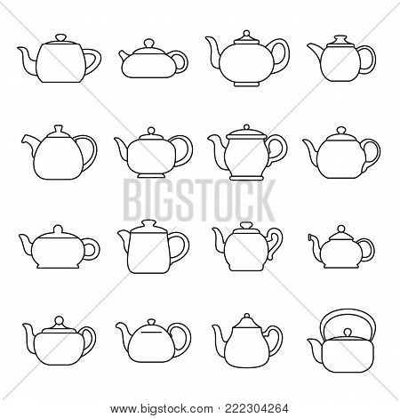 Kettle teapot icons set. Outline illustration of 16 kettle teapot alcohol logo vector icons for web