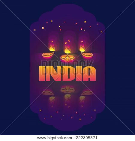 Vector illustration of Indian oil lamp diya with flame. Beautiful colorful illuminating Diya background. Hindu holiday. Diwali celebration in dark blue.