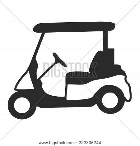 Golf cart silhouette on a white background, Vector illustration