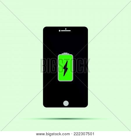 Mobile Phone.smartphone With Yellow Charging Battery Icon On Screen