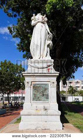 Fort-de-France, Martinique - January 04, 2018: The decapitated statue of the Empress Josephine. It was decapitated because of her alleged support for reintroduction of slavery into Martinique.