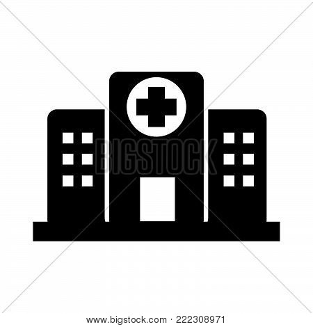 Hospital icon isolated on white background. Hospital icon modern symbol for graphic and web design. Hospital icon simple sign for logo, web, app, UI. Hospital icon flat vector illustration, EPS10.
